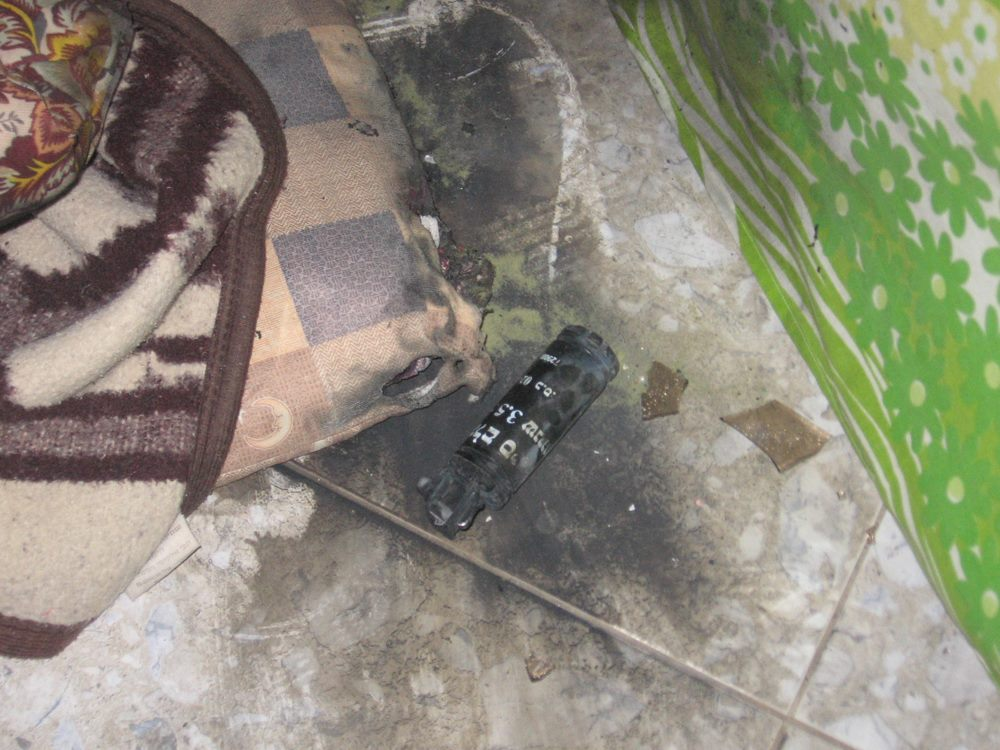 stunt grenades thrown into the home of the Awad family in the middle of the night by Israeli soldiers.