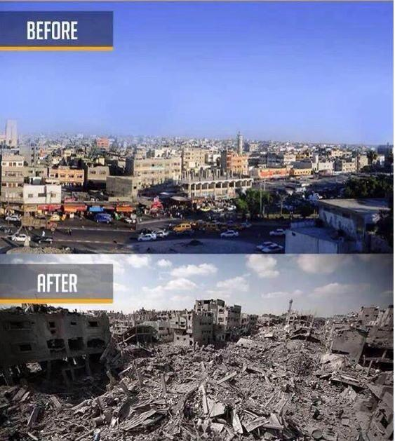sheja'iya before and after it was flattened in the past weeks