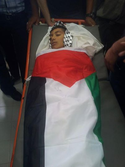 khalil anas anati, 12, shot dead in al fawar refugee camp in front of his house